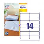 Этикетки адресные Avery Zweckform QuickPeel L7163-100, белые, 99.1х38.1мм, 14шт на листе А4, 100 листов, 1400шт, для всех видов печати
