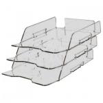 Лоток горизонтальный для бумаг Лантан А4, 3 секции, прозрачный, N303