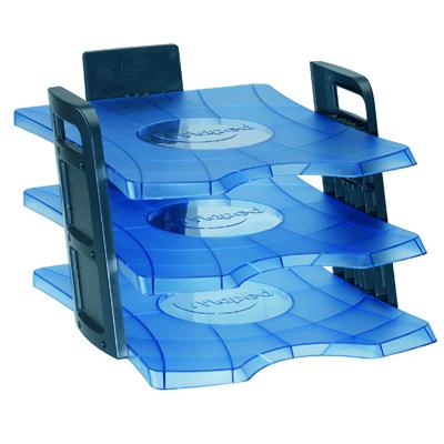 Многосекционный лоток для бумаг Maped Clear Office 755010, А4, 365х281х210 мм, 3 секции, голубой, 755010