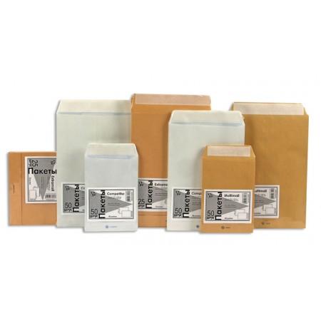 Пакет почтовый плоский Бумажные технологии, С4, белый, 200 шт