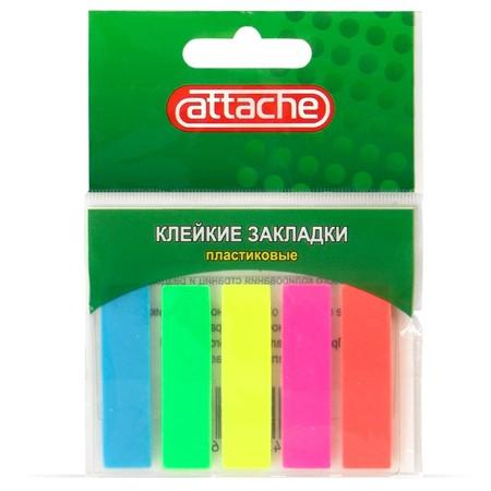 Клейкие закладки пластиковые Attache, 45х12мм, 5 цветов, 5х20л