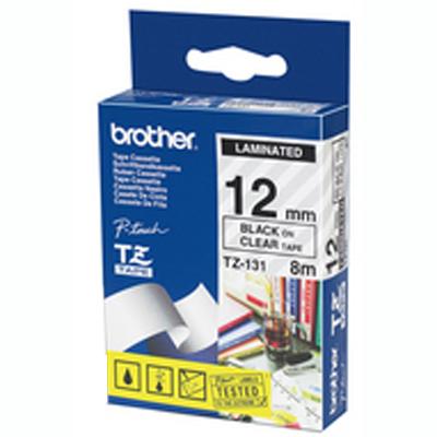 Картридж для принтера этикеток Brother TZ-131, 12мм х 8м, прозрачный с черными буквами, пластик
