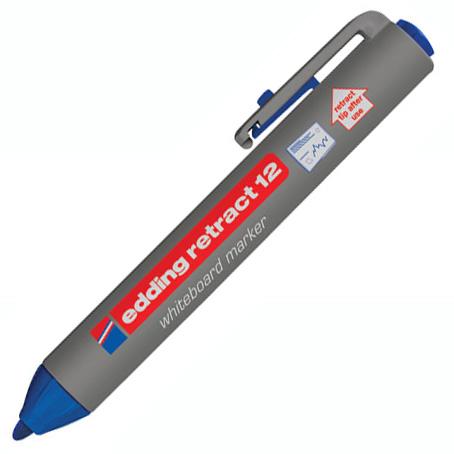 Маркер для досок Edding Retract 12, синий, 2мм