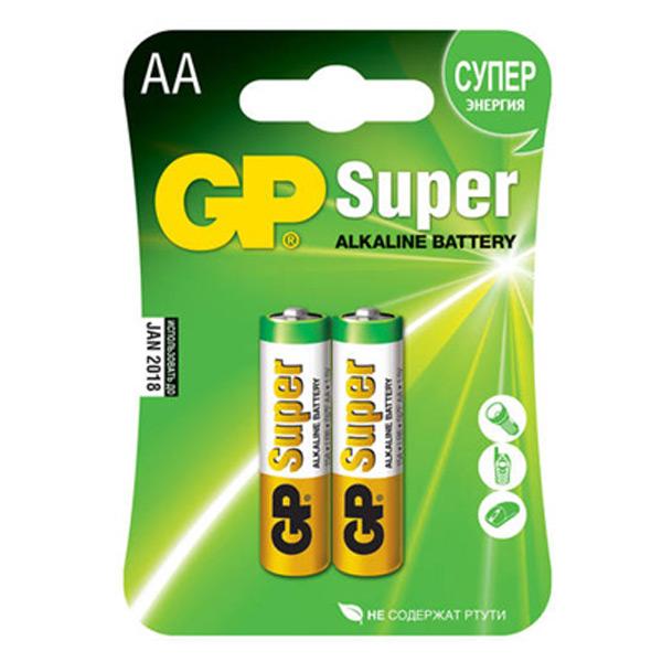 Батарейки GP Super, 1,5В, AA/LR6/15A, алкалиновые, 2шт/уп