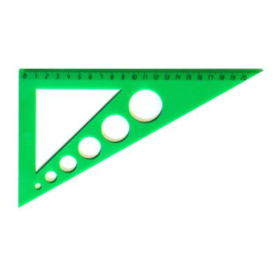 Угольник с окружностями Uniplast, 21см, 30°/30°, зеленый