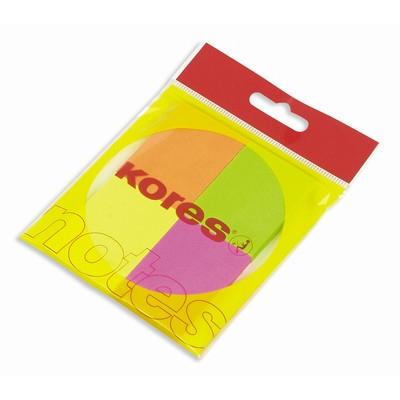 Блок для записей с клейким краем Kores, 50x40мм, 4 цвета неон, 4х50л
