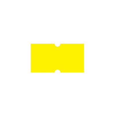 Этикет-лента с выемками 12х21,5 мм, желтый, 1000шт/рул, 10 рулонов