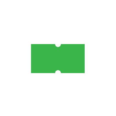 Этикет-лента с выемками 12х21,5 мм, зеленый, 1000шт/рул, 10 рулонов