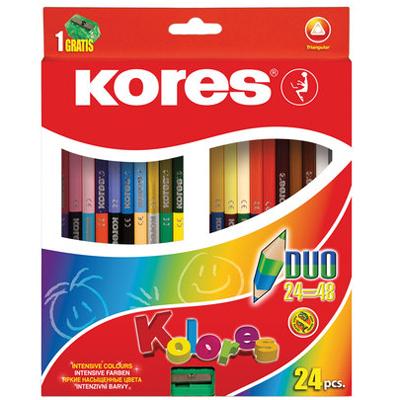 Карандаши двухцветные Kores 128907, 3мм, 48 цветов, с точилкой