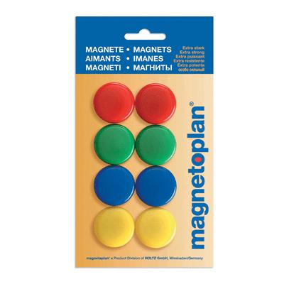 Магниты для магнитной доски Magnetoplan 16663, d=30мм, ассорти, 8шт/уп