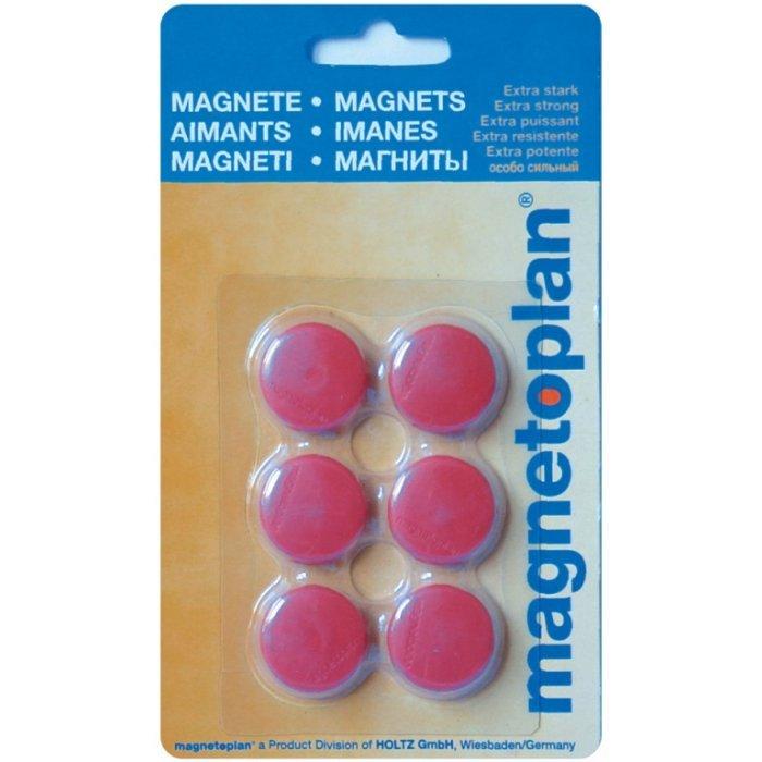 Магниты для магнитной доски Magnetoplan Hobby 16645606, d=25мм, красные, 6шт/уп