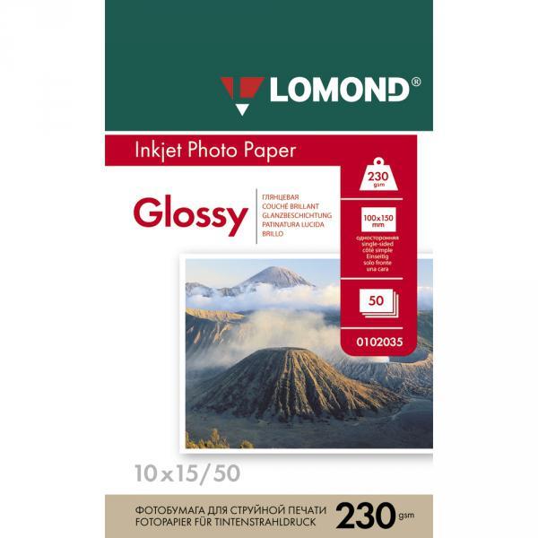 Бумага Lomond для струйной печати, А6, глянцевая, 230 г/м2, 50 листов