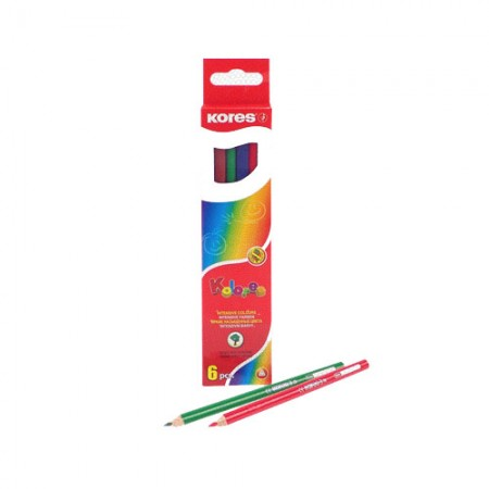 Карандаши цветные 6цв 3-гран Kores 93306