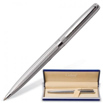 Ручка шариковая galant gfp016, подарочная, корп хромированный/черный, хромиров детали,140614, син