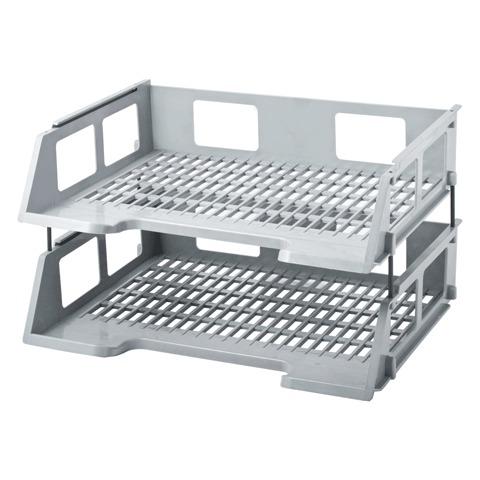 Многосекционный лоток для бумаг Brauberg Radikal 231779, А4, 250х321х213 мм, 2 секции, серый