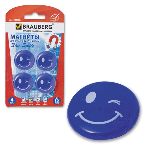 Магниты для магнитной доски Brauberg Смайлики 231728, d=30мм, голубые, 4шт/уп
