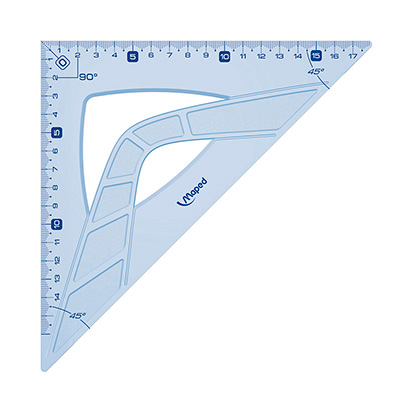 Угольник Maped Geometric, 26см, 45°/45°, 242426, голубой, 242426