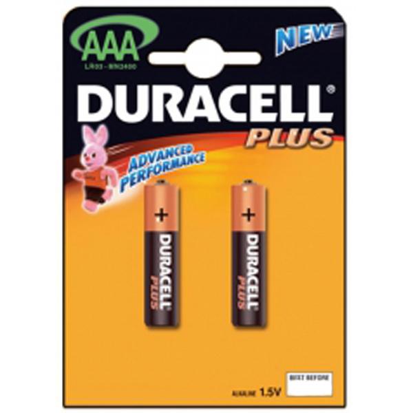 Батарейки Duracell Plus AAA/LR3, алкалиновые, 2шт/уп
