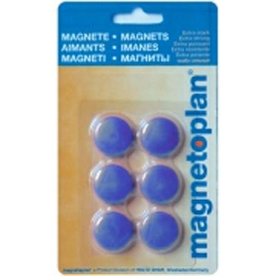 Магниты для магнитной доски Magnetoplan Hobby 16645614, d=25мм, синие, 6шт/уп