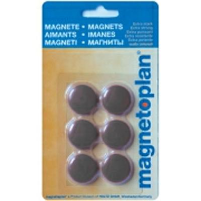 Магниты для магнитной доски Magnetoplan Hobby 16645612, d=25мм, черные, 6шт/уп