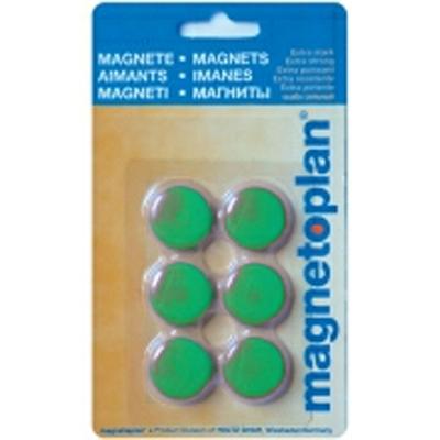 Магниты для магнитной доски Magnetoplan Hobby 16645605, d=25мм, зеленые, 6шт/уп