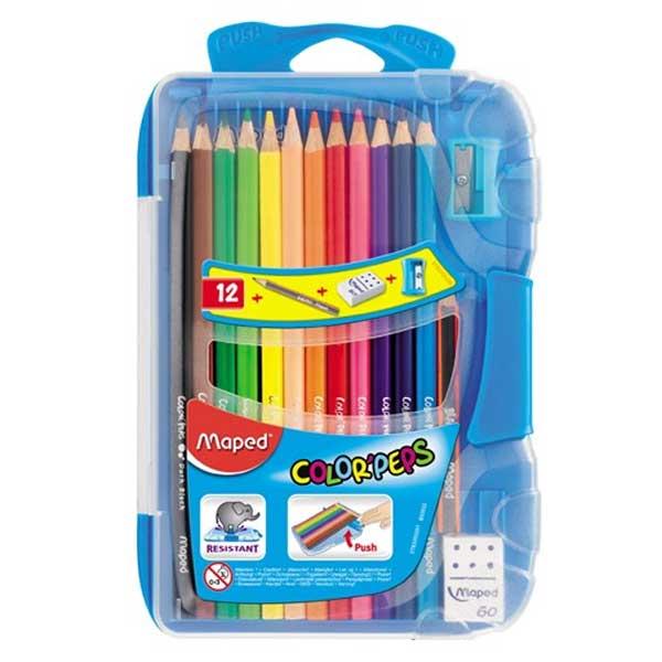 Карандаши цветные Maped Color'Peps 832032, 12 цветов, пенал, точилка, ластик, 832032