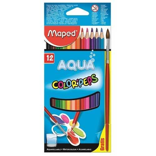 Карандаши акварельные цветные Maped Color'Peps 836011, 12 цветов, кисточка, 836011