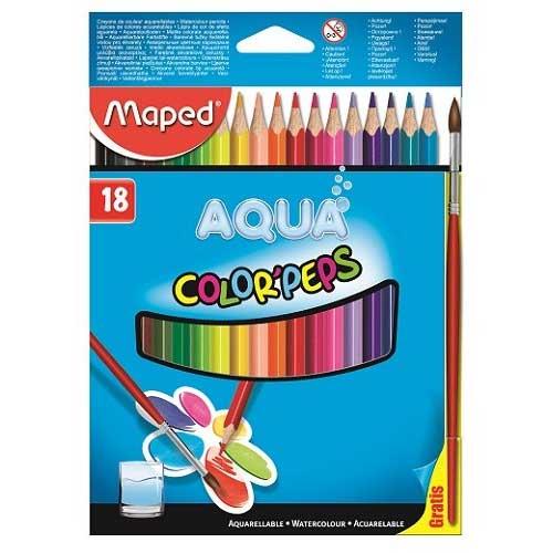 Карандаши акварельные цветные Maped Color'Peps 836012, 18 цветов, кисточка, 836012
