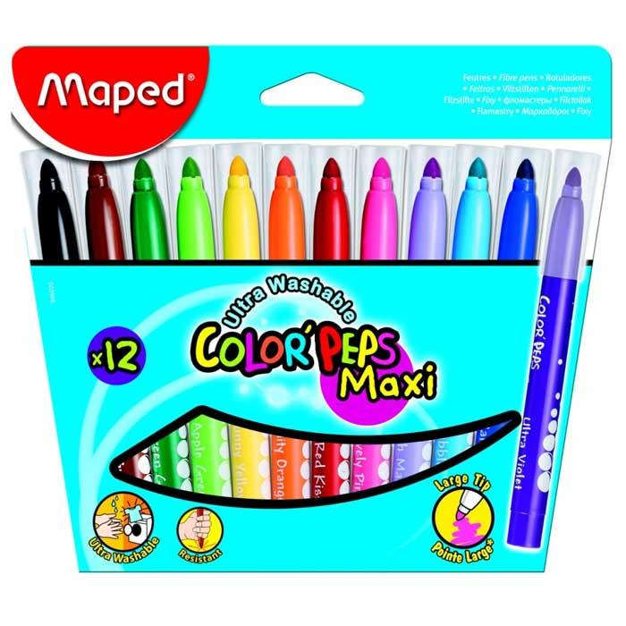 Фломастеры Maped Color'Peps 846020, 12 цветов, 5,9мм, суперсмываемые, 846020
