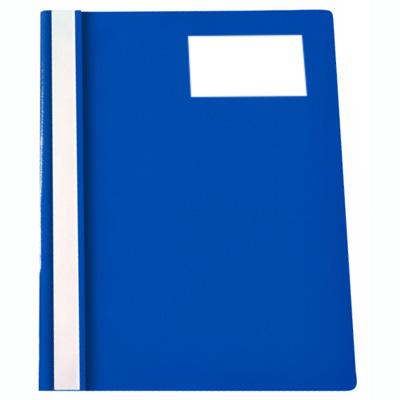 Скоросшиватель пластиковый Бюрократ с карманом для визитки на лицевой стороне PS-V20BLU, А4, синий