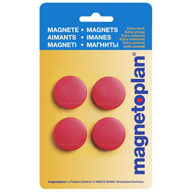 Магниты для магнитной доски Magnetoplan Standart 16642406, d=30мм, красные, 4шт/уп