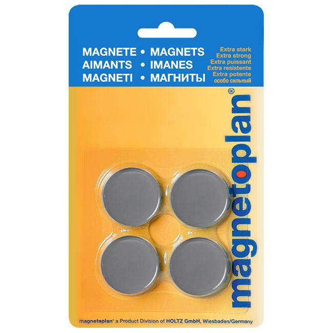Магниты для магнитной доски Magnetoplan Standart 16642401, d=30мм, серые, 4шт/уп