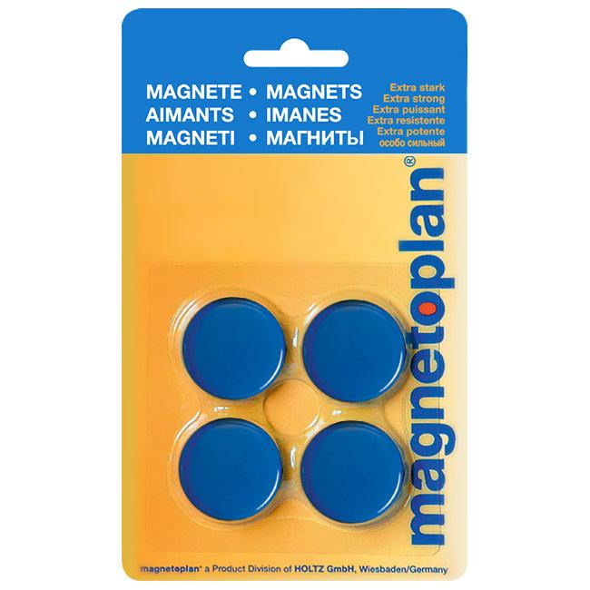 Магниты для магнитной доски Magnetoplan Standart 16642414, d=30мм, синие, 4шт/уп