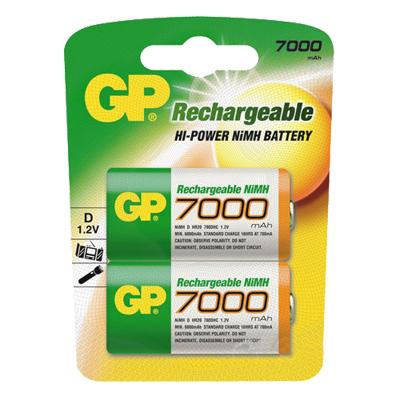 Аккумулятор GP, NiMH, 7000 mAh, 2шт/уп