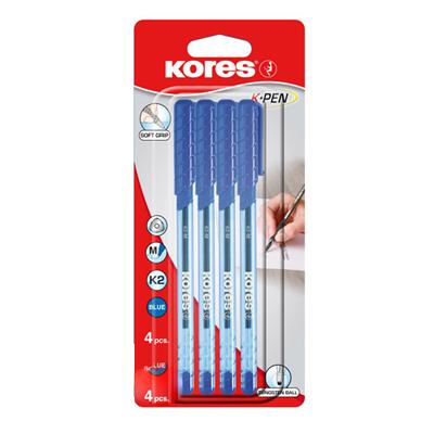 Набор ручек шариковых Kores К2, 0,7мм, синяя, 4шт/уп.