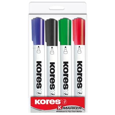 Набор маркеров для досок Kores 20843, 2-5мм, 4 цвета