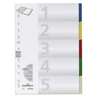 Цветовой разделитель листов DURABLE 6730-27, А4, 5 разделов , 673027