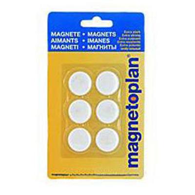 Магниты для магнитной доски Magnetoplan Hobby 16645600, d=25мм, белые, 6шт/уп