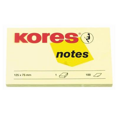 Блок для записей с клейким краем Kores, 125х75мм, желтый, 100л