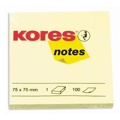Блок для записей с клейким краем Kores, 75x75мм, желтый 100л