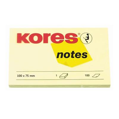 Блок для записей с клейким краем Kores, 100х75мм, желтый, 100л