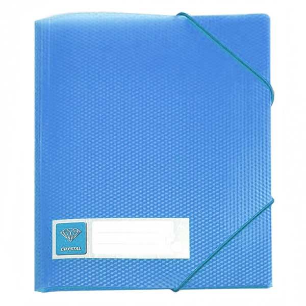 Пластиковая папка на резинке Бюрократ Crystal CR510blue, A4, 30мм, голубая