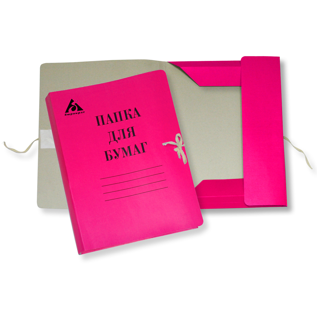 Картонная папка на завязках Бюрократ PZ320M, А4, до 150 листов, розовая