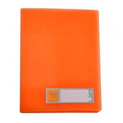 Папка на 4-х кольцах Бюрократ Crystal CR0527/4ROR, А4, 27 мм, оранжевая