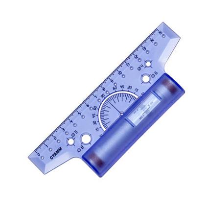 Линейка-рейсшина инерционная Стамм ЛР01, 15см, с пластиковым роликом, фиолетовый