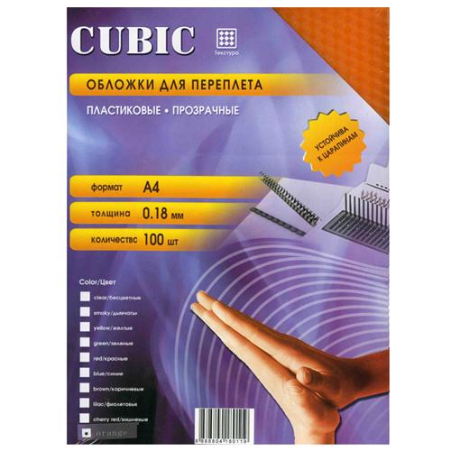 Обложки для переплета пластиковые Office Kit Cubic PCKA400180, А4, 180 мкм, оранжевые, 100 шт