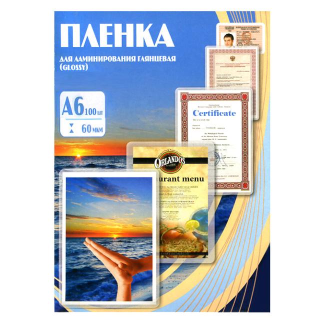 Плёнка для ламинатора А6 Office Kit, 60мкм, глянцевая, 100шт