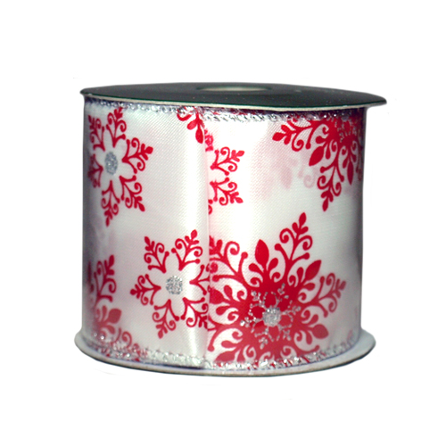 Лента упаковочная, 2,7м белая с красным орнаментом