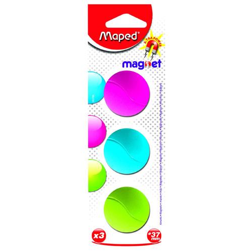 Магниты для магнитной доски Maped Magnet 053700, d=37мм, ассорти, 3шт/уп, 053700