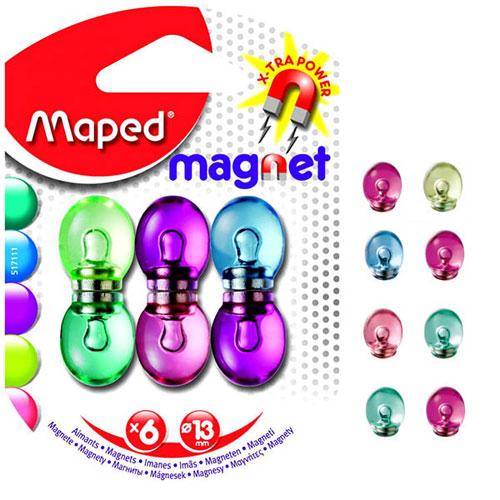 Магниты для магнитной доски Maped 517111, d=13мм, ассорти, 6шт/уп, 517111